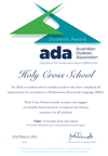 ADA Dyslexia Aware School Certificate – Holy Cross School